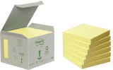 Post-it blok 654 Genbrugspapir, 76x76 mm - 6 stk