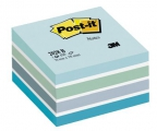 Post-it kubusblok 76x76mm, Blå pastelfarver - 1 pakke