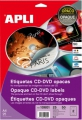 CD-Label APLI t/farvelaser, Glossy ø117 mm. - 1 pakke