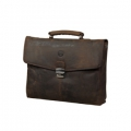 Leather briefcase for PC & MacBooks up to 14\'\' Hunter brown