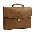 Leather briefcase for PC & MacBooks up to 14\'\' - Golden tan