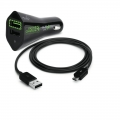 Puro Uni. Fast Car Charger USB w/Micro Cable 2.4A Black