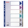 Esselte divider PP A4 6 tabs MC Transparent 20 stk
